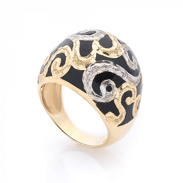 Дизайнерский перстень Ночной орнамент в желтом золоте с насечками и черной эмалью 000082301
