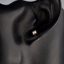 Сережки-пуссеты Кайра в красном золоте с круглыми бриллиантами