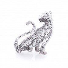 Серебряная брошь Тигр с белыми и зелеными фианитами