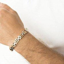Золотой мужской браслет Стенли в комбинированном цвете фантазийного плетения