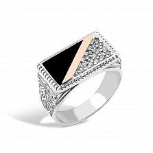 Серебряный перстень-печатка Лондон с золотой накладкой, имитацией оникса и фианитами