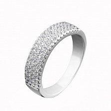 Серебряное кольцо Ламина с дорожками белых фианитов