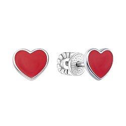 Серебряные серьги-пуссеты с красной эмалью 000118159