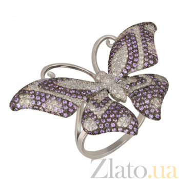 Золотое кольцо Бабочка с фианитами VLT--ТТ1026-2