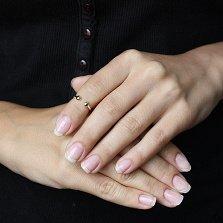 Серебряное кольцо на фалангу Мери с золотой накладкой