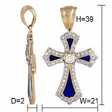 Крестик из желтого золота Небеса с бриллиантами и эмалью