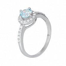 Серебряное кольцо с голубым цирконием Орлэйт