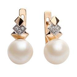 Золотые сережки с жемчугом и фианитами Хафа 000017839
