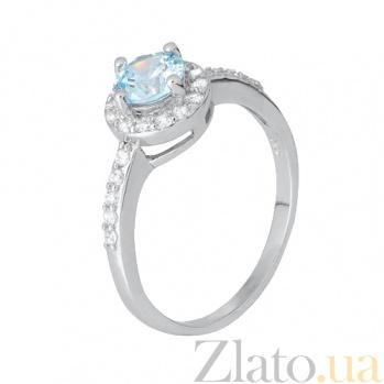 Серебряное кольцо с голубым цирконием Орлэйт 000028373