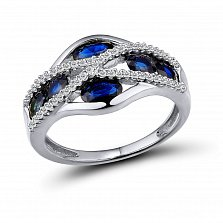 Кольцо из белого золота Ирма с бриллиантами и сапфирами