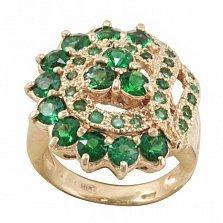 Золотой перстень Миранда с узорной шинкой и синтезированными изумрудами