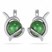 Серебряные серьги Джейн с зеленым морганитом