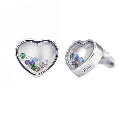 Серебряные серьги-пуссеты Сердце малое с цветными плавающими фианитами, 8x8мм