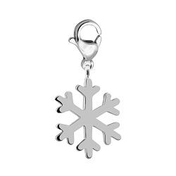 Серебряный брелок Минималистичная снежинка с родием 000072538