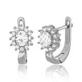 Серебряные сережки с фианитами Анкария