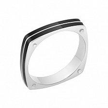 Перстень в белом золоте Награда с эмалью