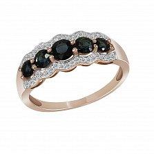 Кольцо из красного золота Летисия с бриллиантами и сапфирами