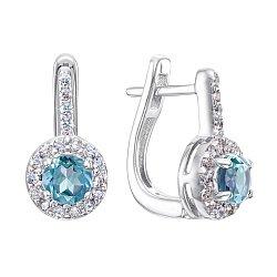 Серебряные серьги с топазами и фианитами 000146612