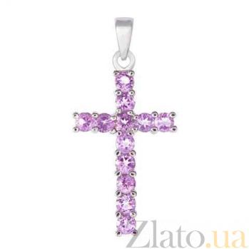 Серебряный крест с аметистами AQA--P00522Am