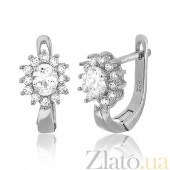 Серебряные сережки с фианитами Анкария SLX--СК2Ф/375