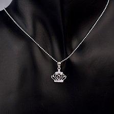 Серебряная подвеска Корона с сердечком и инкрустацией из белых фианитов