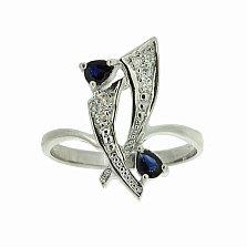 Серебряное кольцо Паулина с сапфирами и бриллиантами
