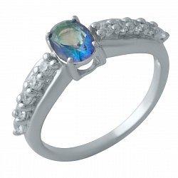 Серебряное кольцо с мистик топазом и фианитами 000128156