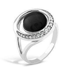 Серебряное кольцо с ониксом и фианитами 000149509