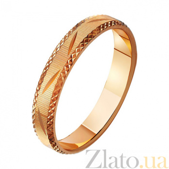 Золотое обручальное кольцо Узорный романс TRF--411037