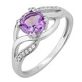Серебряное кольцо Унисон с аметистом и фианитами