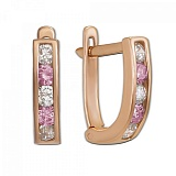 Золотые серьги с белыми и розовыми фианитами Дормео