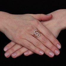 Золотое узорное кольцо Аланья с белыми фианитами