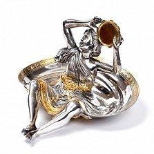 Серебряная пепельница Девушка с бубном