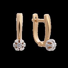Золотые серьги Сансет в комбинированном цвете с бриллиантами