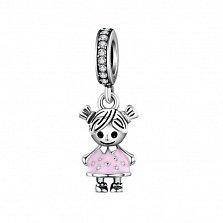 Серебряный шарм Девочка с фианитами и розовой эмалью в стиле Пандора