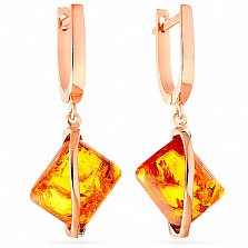 Золотые серьги с янтарем Глоток солнца