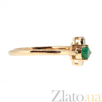 Кольцо в красном цвете золота с изумрудом и бриллиантами Лиза 000021378