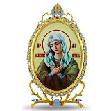 Серебряная настольная  икона с образом Божьей Матери Умиление