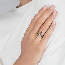 Серебряное кольцо Королевская кобра с зеленым альпинитом