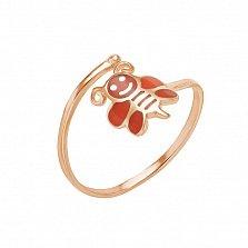 Кольцо в красном золоте Пчелка с эмалью