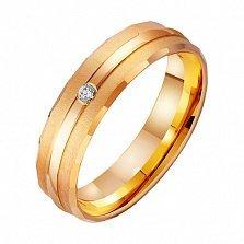 Золотое обручальное кольцо Прикосновения с фианитами