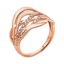 Кольцо из красного золота с фианитами 000133061