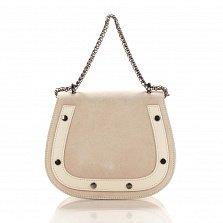 Кожаный клатч на каждый день Genuine Leather 1708 бежевого цвета с ручкой-цепочкой через плечо