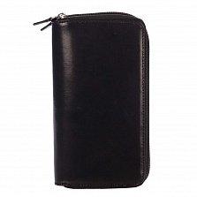 Кожаный кошелек Genuine Leather gf023 черного цвета с двумя отделениями на молнии