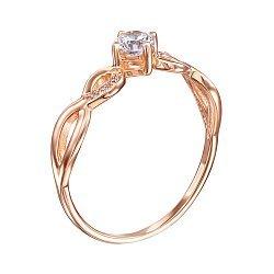 Золотое кольцо Синди в красном цвете с фианитами