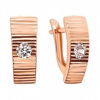 Серьги из красного золота с цирконием и алмазной гранью 000103551