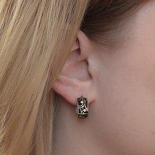 Серебряные серьги-пуссеты Агнесса с золотыми накладками, черной эмалью и родием
