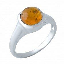 Серебряное кольцо Миррей с завальцованным янтарем