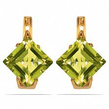 Золотые серьги Величие принцессы с гидротермальными хризолитами