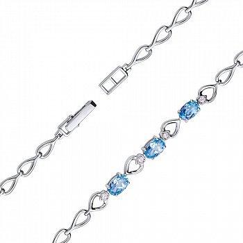 Браслет из белого золота с голубыми топазами и фианитами 000132836